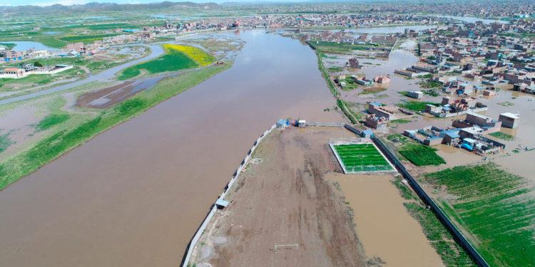 Vista aérea de la inundación a inicios de año