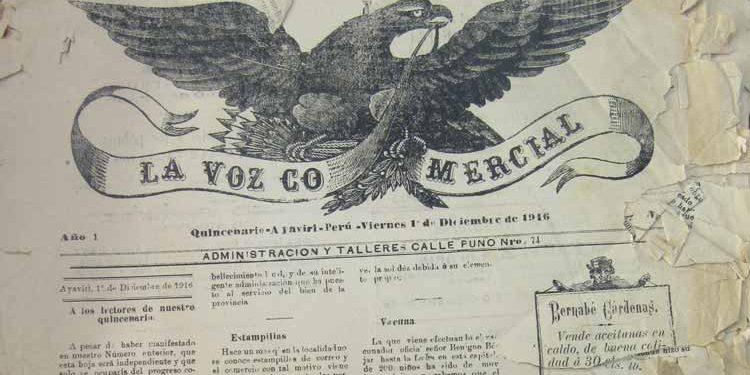 """Muestra del quincenario """"La Voz Comercial"""" (Ayaviri, diciembre de 1916 año 1 número 24)"""