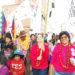 Verónika Mendoza, junto a sus candidatos al congreso por Puno.