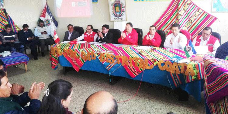 Autoridades presentes en la mesa técnica de la cuenca Cuata.