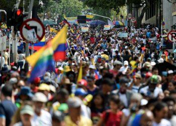 Primera jornada de protestas en Colombia.