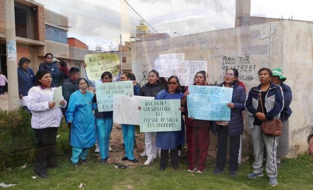 Mediante protesta las trabajadoras del sector salud pretende ser escuchadas.