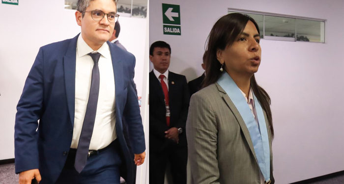 Fiscal  José Domingo Pérez y Giuliana Loza, abogada de Keiko Fujimori.