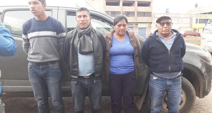 Tres personas y un agente de la PNP fueron detenidos por Trafico Ilícito de Drogas.