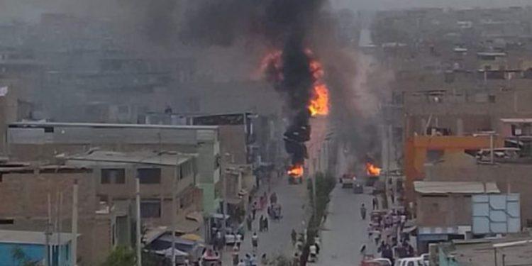 Incendio en Villa el Salvador. Foto: Andina