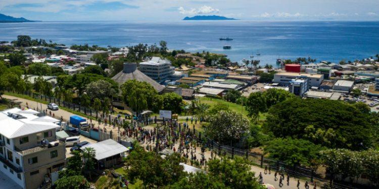 Una imagen de Honiara, la capital de las islas Salomón, tomada el 24 de abril de 2019. (AFP).