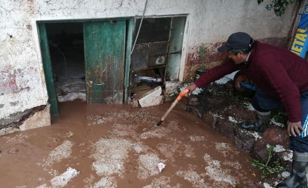 Situación lamentable atraviesan pobladores de Melgar por granizada.