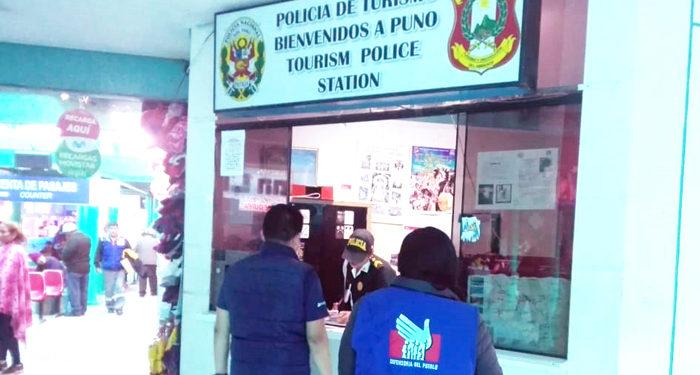Puesto de  la Policía de Turismom en el terminal terrestre de Puno fueron inspeccionados por la Defensoria.