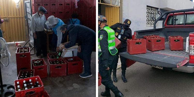 Intervienen a 8 personas y decomisan más 100 cajas de cerveza de bar clandestino
