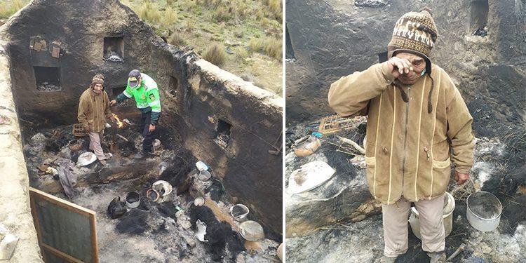 Abuelito lo pierde por un rayo que cayó en su vivienda en San Juan de Tarucani
