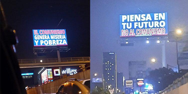Punto Visual admite autoría de paneles LED contra el comunismo y afirma que nadie los contrató