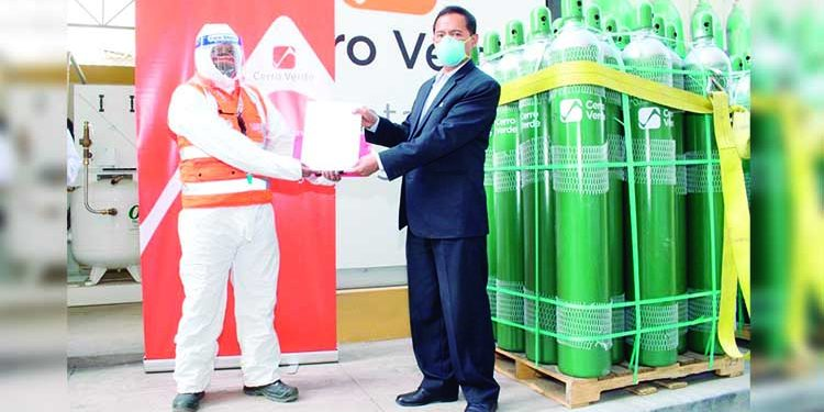 Cerro Verde dona 100 cilindros de oxígeno a dos hospitales para atención por Covid