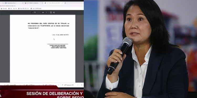 Fuerza Popular presenta informe grafotécnico sin firma de perito en audiencia del JNE