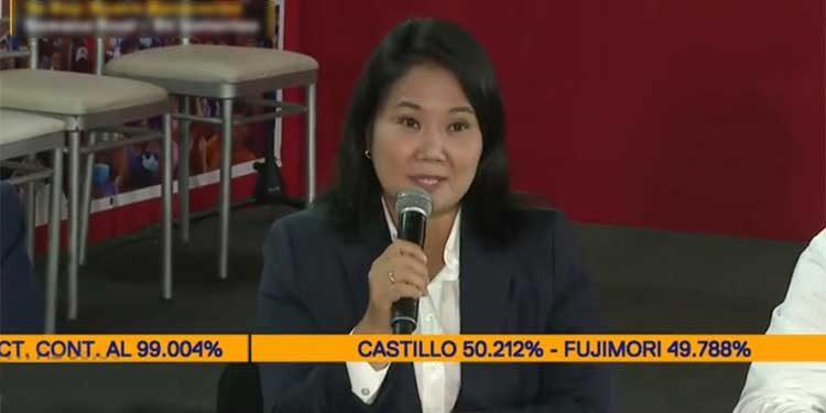 Keiko Fujimori busca anular 820 actas que representa 200 mil votos de los peruanos
