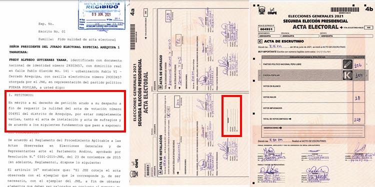 Acta  004951, del distrito Arequipa (Cercado).