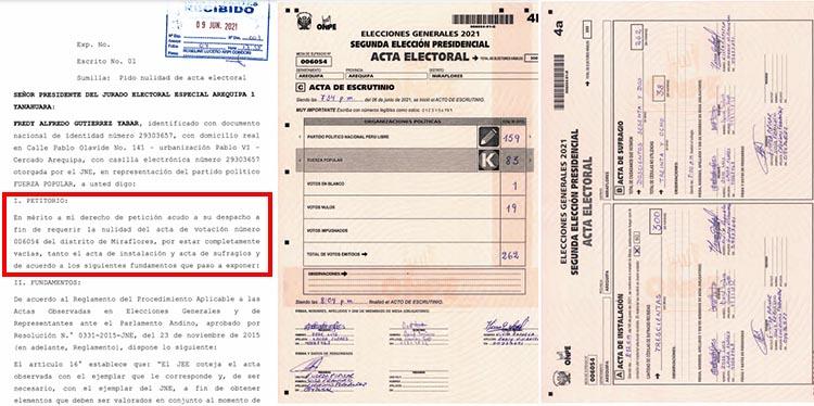 Acta 006054, del caso 1 en el distrito de Miraflores.