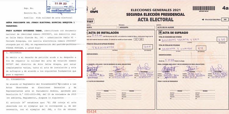 Acta 007507, del distrito de Alto Selva Alegre.