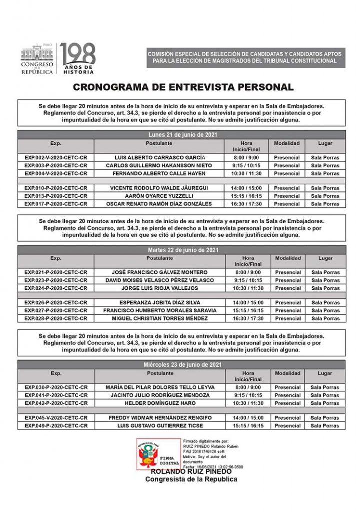 Este es el cronograma de las entrevistas personales para los candidatos al TC.