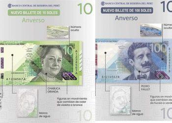 Billetes de 10 y 100 soles con nuevos diseños entran en circulación desde hoy