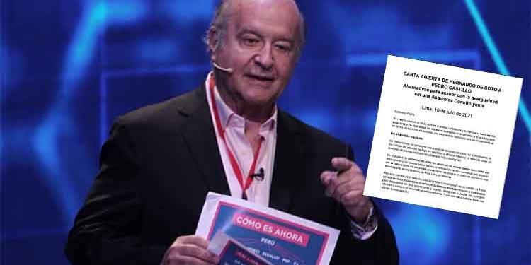 Hernando de Soto envía carta a Pedro Castillo para evitar asamblea constituyente