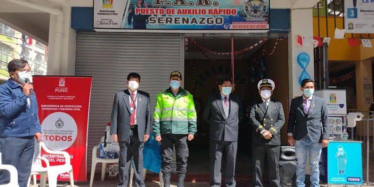 Aperturan puesto de auxilio rápido de Serenazgo en el Mercado Central de Puno