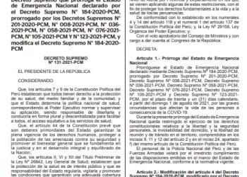 Gobierno amplia estado de emergencia nacional hasta el 31 de agosto