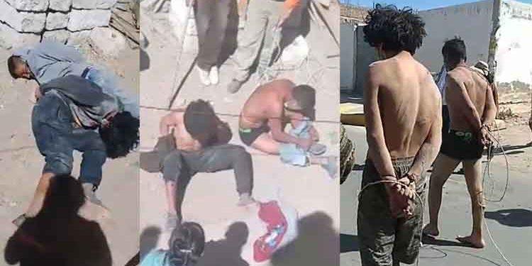 Vecinos atrapan dos presuntos 'robacasas' y los desnudan para castigarlos en Cerro Colorado