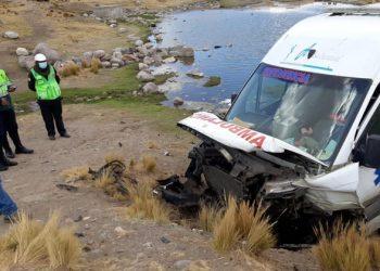 Ambulancia de Madre de Dios sufrió despiste en el ingreso a la ciudad de Macusani