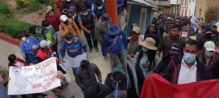 Pobladores del distrito de Coasa pasearon a su alcalde por incumplir con sus votantes