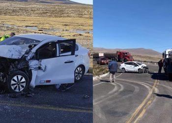 Choque entre camión de Gloria y auto en la vía Juliaca - Arequipa dejó 1 fallecido